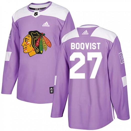 Adam Boqvist Chicago Blackhawks Men's Adidas Authentic Purple Fights Cancer Practice Jersey