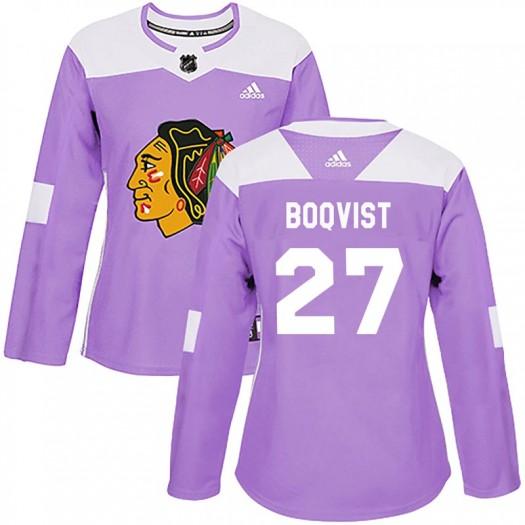 Adam Boqvist Chicago Blackhawks Women's Adidas Authentic Purple Fights Cancer Practice Jersey