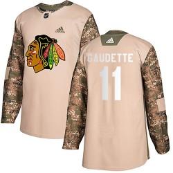 Adam Gaudette Chicago Blackhawks Men's Adidas Authentic Camo Veterans Day Practice Jersey