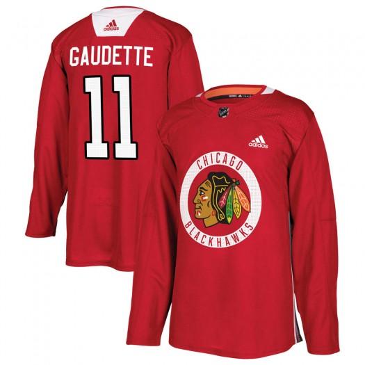 Adam Gaudette Chicago Blackhawks Men's Adidas Authentic Red Home Practice Jersey