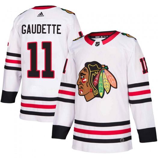 Adam Gaudette Chicago Blackhawks Men's Adidas Authentic White Away Jersey