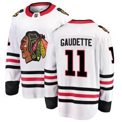 Adam Gaudette Chicago Blackhawks Men's Fanatics Branded White Breakaway Away Jersey