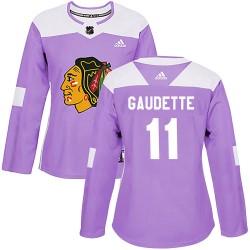 Adam Gaudette Chicago Blackhawks Women's Adidas Authentic Purple Fights Cancer Practice Jersey