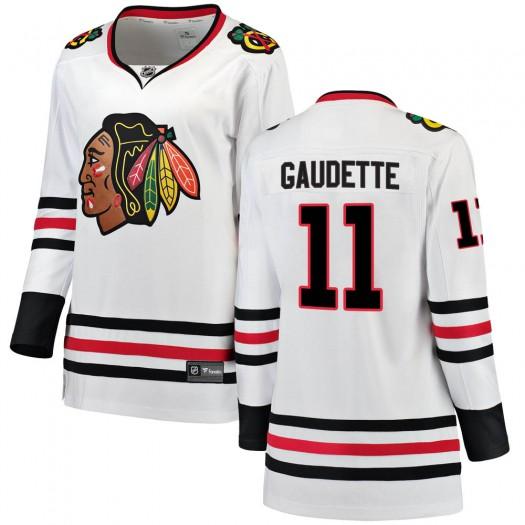 Adam Gaudette Chicago Blackhawks Women's Fanatics Branded White Breakaway Away Jersey