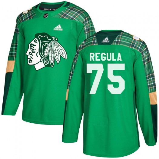 Alec Regula Chicago Blackhawks Youth Adidas Authentic Green ized St. Patrick's Day Practice Jersey