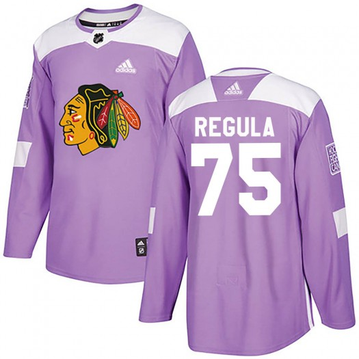Alec Regula Chicago Blackhawks Youth Adidas Authentic Purple Fights Cancer Practice Jersey