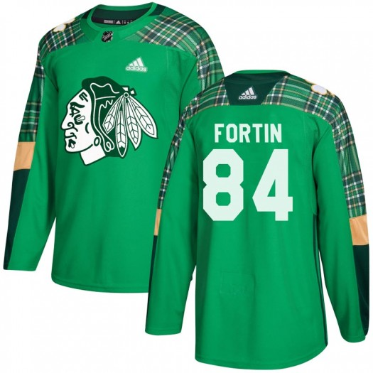 Alexandre Fortin Chicago Blackhawks Men's Adidas Authentic Green St. Patrick's Day Practice Jersey