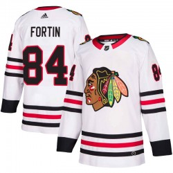 Alexandre Fortin Chicago Blackhawks Men's Adidas Authentic White Away Jersey