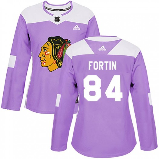 Alexandre Fortin Chicago Blackhawks Women's Adidas Authentic Purple Fights Cancer Practice Jersey