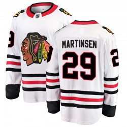 Andreas Martinsen Chicago Blackhawks Men's Fanatics Branded White Breakaway Away Jersey