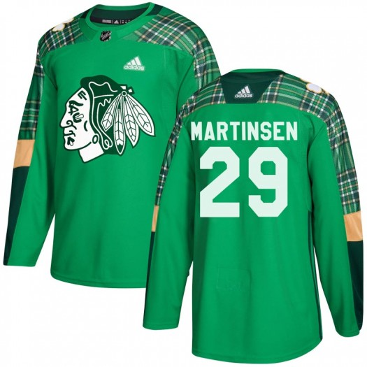 Andreas Martinsen Chicago Blackhawks Youth Adidas Authentic Green St. Patrick's Day Practice Jersey