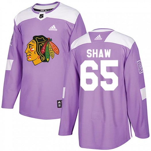 Andrew Shaw Chicago Blackhawks Youth Adidas Authentic Purple Fights Cancer Practice Jersey