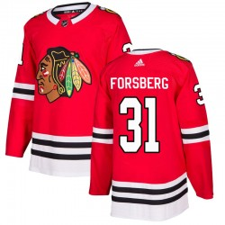 Anton Forsberg Chicago Blackhawks Men's Adidas Authentic Red Home Jersey