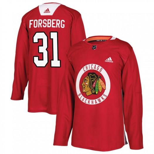 Anton Forsberg Chicago Blackhawks Men's Adidas Authentic Red Home Practice Jersey