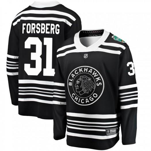 Anton Forsberg Chicago Blackhawks Men's Fanatics Branded Black 2019 Winter Classic Breakaway Jersey
