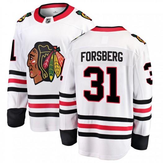 Anton Forsberg Chicago Blackhawks Men's Fanatics Branded White Breakaway Away Jersey