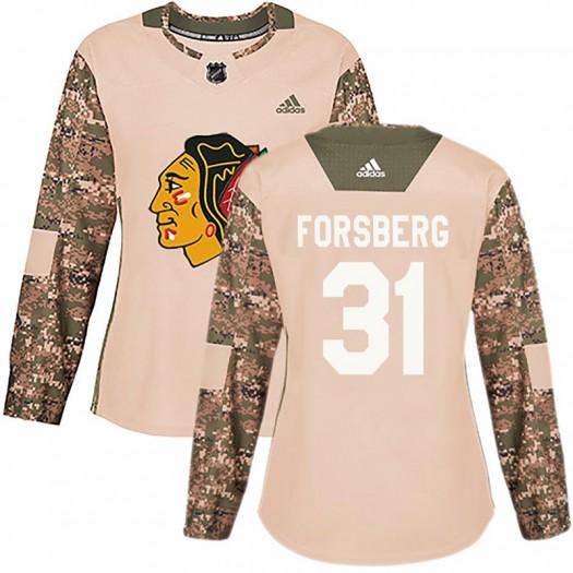 Anton Forsberg Chicago Blackhawks Women's Adidas Authentic Camo Veterans Day Practice Jersey