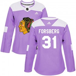 Anton Forsberg Chicago Blackhawks Women's Adidas Authentic Purple Fights Cancer Practice Jersey