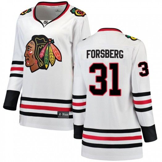 Anton Forsberg Chicago Blackhawks Women's Fanatics Branded White Breakaway Away Jersey
