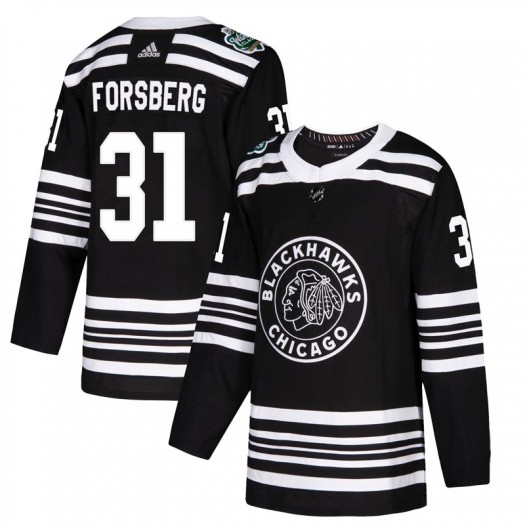 Anton Forsberg Chicago Blackhawks Youth Adidas Authentic Black 2019 Winter Classic Jersey