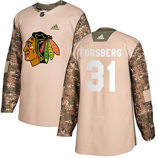Anton Forsberg Chicago Blackhawks Youth Adidas Authentic Camo Veterans Day Practice Jersey