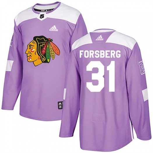Anton Forsberg Chicago Blackhawks Youth Adidas Authentic Purple Fights Cancer Practice Jersey