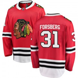Anton Forsberg Chicago Blackhawks Youth Fanatics Branded Red Breakaway Home Jersey