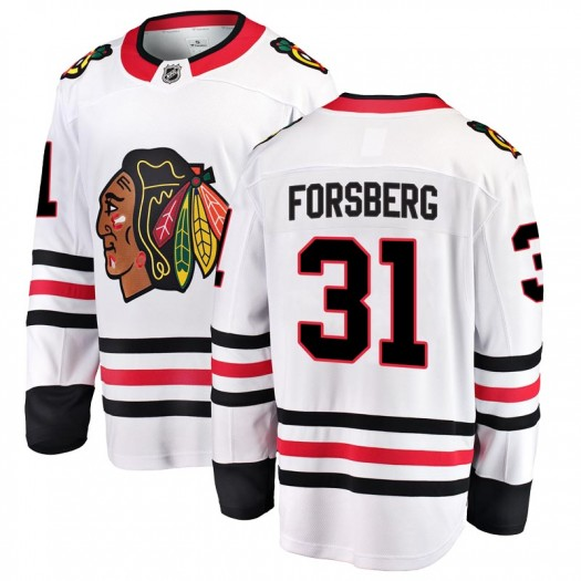 Anton Forsberg Chicago Blackhawks Youth Fanatics Branded White Breakaway Away Jersey