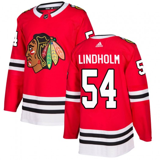 Anton Lindholm Chicago Blackhawks Men's Adidas Authentic Red Home Jersey