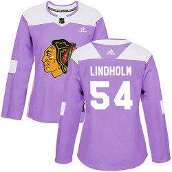 Anton Lindholm Chicago Blackhawks Women's Adidas Authentic Purple Fights Cancer Practice Jersey