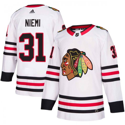 Antti Niemi Chicago Blackhawks Men's Adidas Authentic White Away Jersey