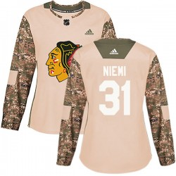 Antti Niemi Chicago Blackhawks Women's Adidas Authentic Camo Veterans Day Practice Jersey