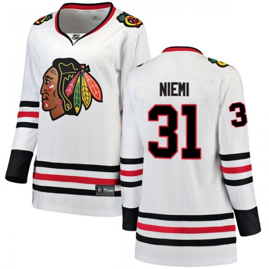 Antti Niemi Chicago Blackhawks Women's Fanatics Branded White Breakaway Away Jersey