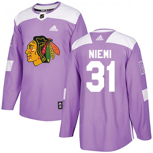 Antti Niemi Chicago Blackhawks Youth Adidas Authentic Purple Fights Cancer Practice Jersey