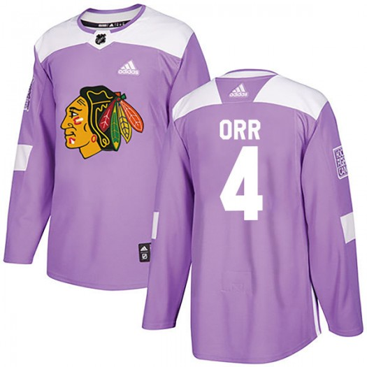 Bobby Orr Chicago Blackhawks Youth Adidas Authentic Purple Fights Cancer Practice Jersey