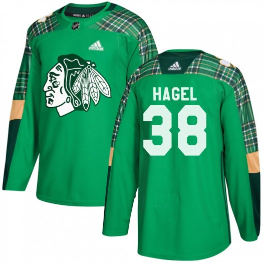Brandon Hagel Chicago Blackhawks Youth Adidas Authentic Green St. Patrick's Day Practice Jersey