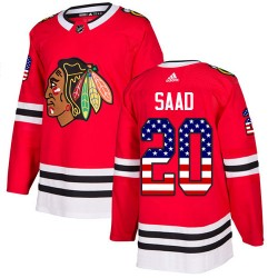 Brandon Saad Chicago Blackhawks Men's Adidas Authentic Red USA Flag Fashion Jersey
