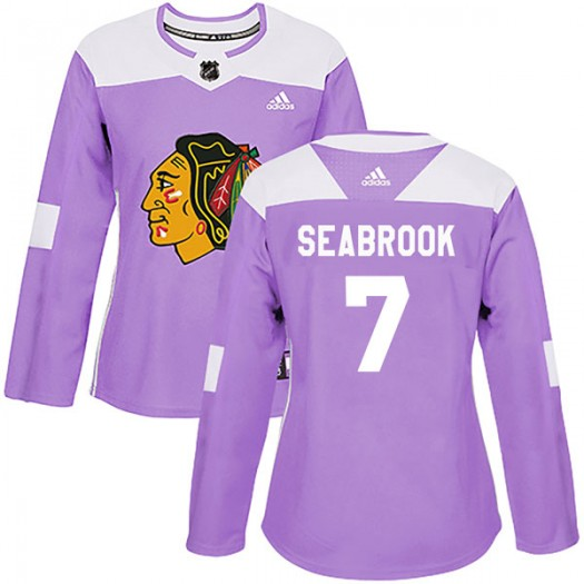 Brent Seabrook Chicago Blackhawks Women's Adidas Authentic Purple Fights Cancer Practice Jersey