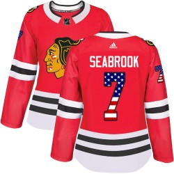 Brent Seabrook Chicago Blackhawks Women's Adidas Authentic Red USA Flag Fashion Jersey