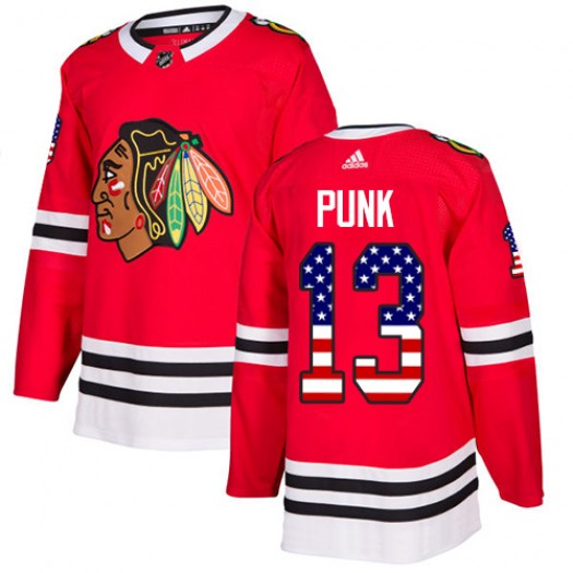 CM Punk Chicago Blackhawks Men's Adidas Authentic Red USA Flag Fashion Jersey