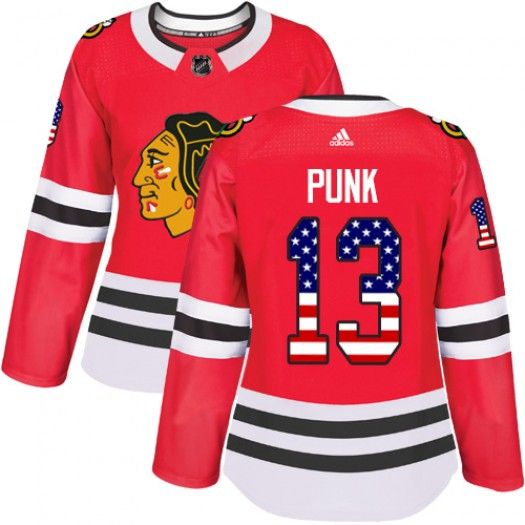 CM Punk Chicago Blackhawks Women's Adidas Authentic Red USA Flag Fashion Jersey