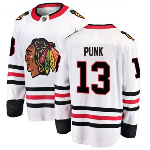 CM Punk Chicago Blackhawks Youth Fanatics Branded White Breakaway Away Jersey