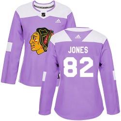 Caleb Jones Chicago Blackhawks Women's Adidas Authentic Purple Fights Cancer Practice Jersey