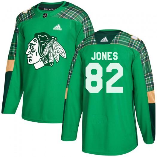 Caleb Jones Chicago Blackhawks Youth Adidas Authentic Green St. Patrick's Day Practice Jersey