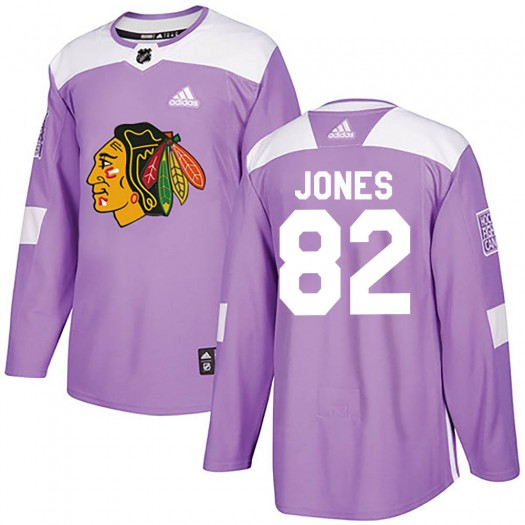 Caleb Jones Chicago Blackhawks Youth Adidas Authentic Purple Fights Cancer Practice Jersey