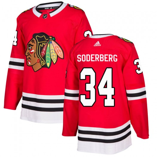 Carl Soderberg Chicago Blackhawks Men's Adidas Authentic Red Home Jersey