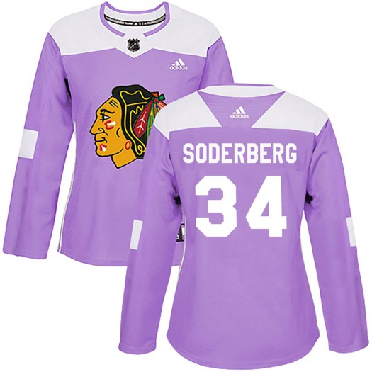 Carl Soderberg Chicago Blackhawks Women's Adidas Authentic Purple Fights Cancer Practice Jersey