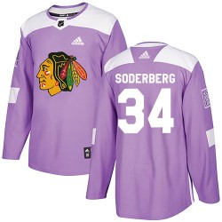 Carl Soderberg Chicago Blackhawks Youth Adidas Authentic Purple Fights Cancer Practice Jersey
