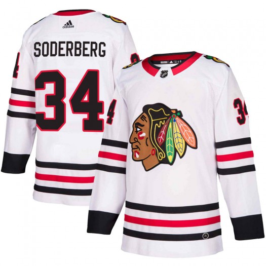 Carl Soderberg Chicago Blackhawks Youth Adidas Authentic White Away Jersey