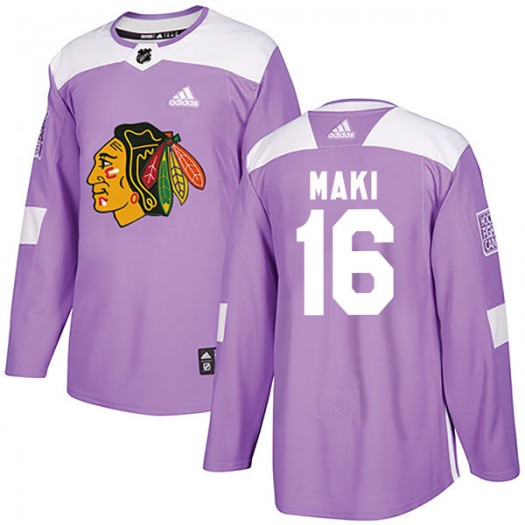 Chico Maki Chicago Blackhawks Youth Adidas Authentic Purple Fights Cancer Practice Jersey